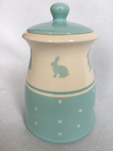Easter Blue Bunny With Polka Dots Medium Ceramic Cookie Jar