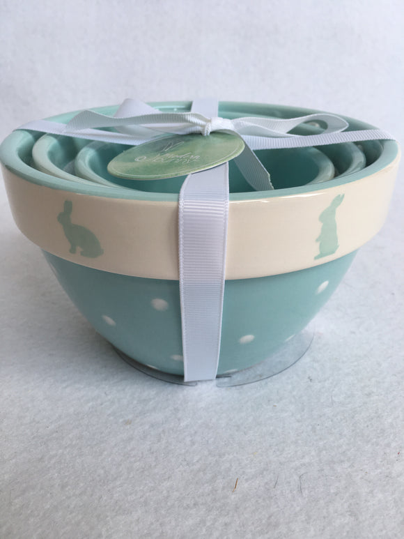 Easter Blue Bunny With Polka Dots Set of 3 Ceramic Bowls