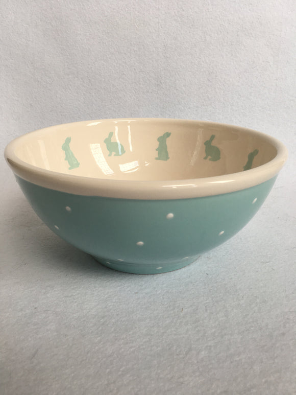 Easter Blue Bunny With Polka Dots Large Ceramic Bowl