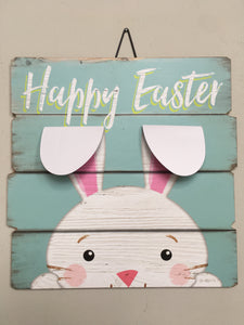 Easter Happy Easter Bunny with 3-D Metal Ears Sign