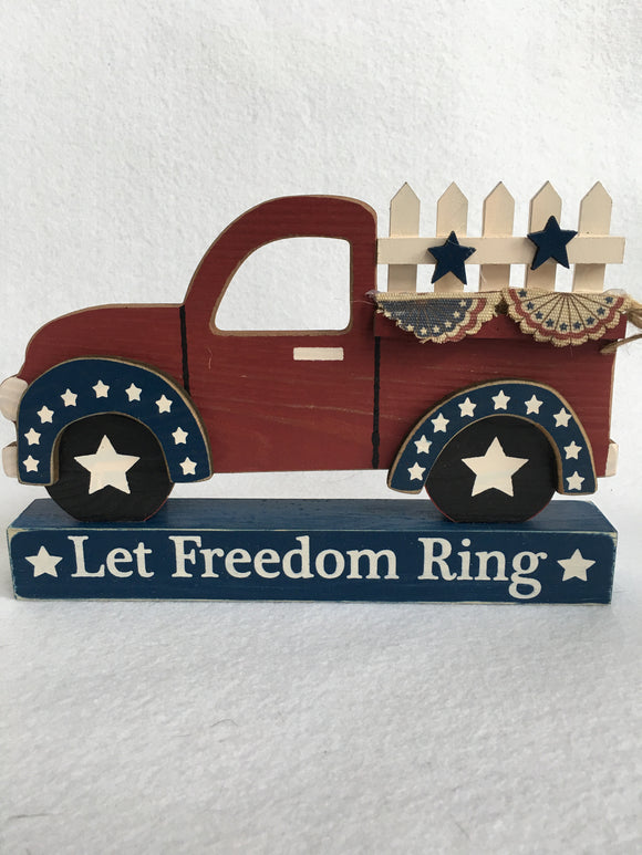 Patriotic Let Freedom Ring Truck With Banners Block Sitter