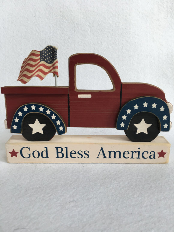 Patriotic God Bless America Truck With Flag Block Sitter