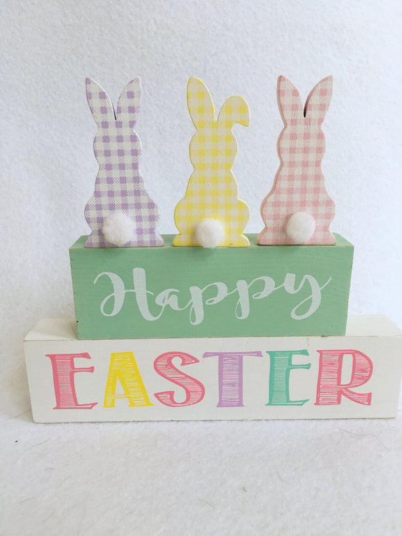 Easter Happy Easter 3 Bunnies With Cotton Ball Tails Block Sitter