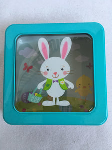 Easter Colorful Bunny Metal Window Tin