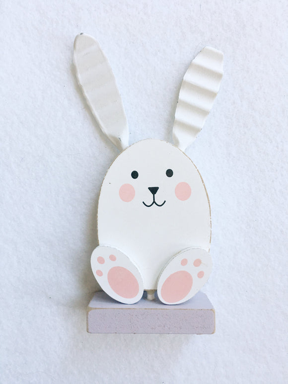 Easter White Bunny Miniature Block Sitter