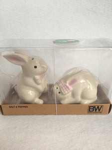 Easter White Bunnies with Pink Bows Ceramic Salt and Pepper Shakers
