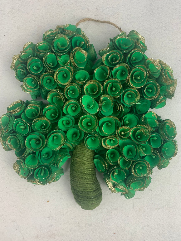 Saint Patrick's Day Rosetta Wood Curled Shamrock Wall Hanging