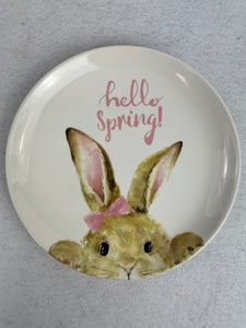 Easter Hello Spring or Happy Easter Small Bunny Fine Ceramic Plate