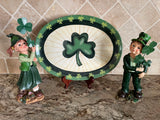 Saint Patrick's Day Boy and Girl Holding Shamrocks