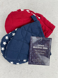 Patriotic Stars and Stripes 2 pack Mini Oven Mitts