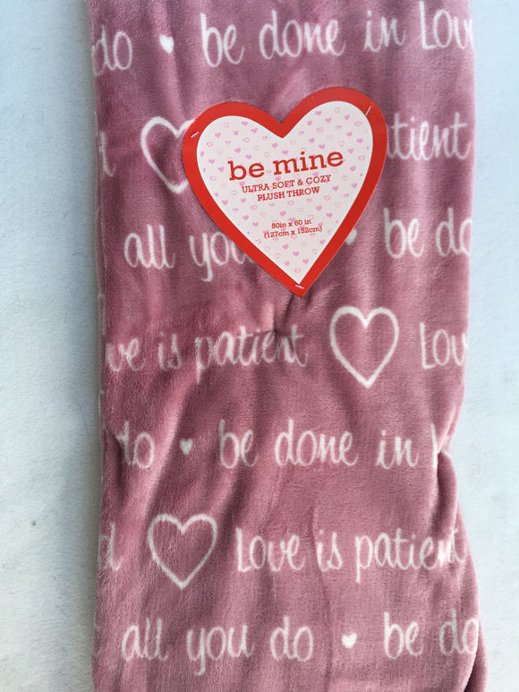 Valentine Multiple Love Sayings Blanket Throw