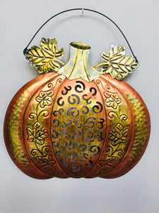 Harvest Metal Pumpkin Wall Hanging