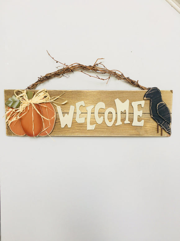 Harvest Wooden Welcome Sign with Pumpkin and Raven