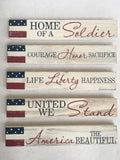 Patriotic Sayings Wood Block Sitter