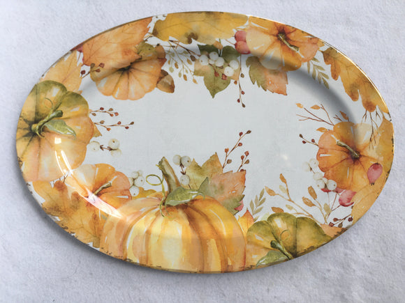 Harvest Extra Large Melamine Pumpkin Serving Tray