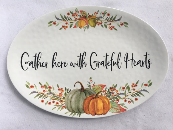 Harvest Extra Large Melamine Gather Here With Grateful Hearts Serving Tray