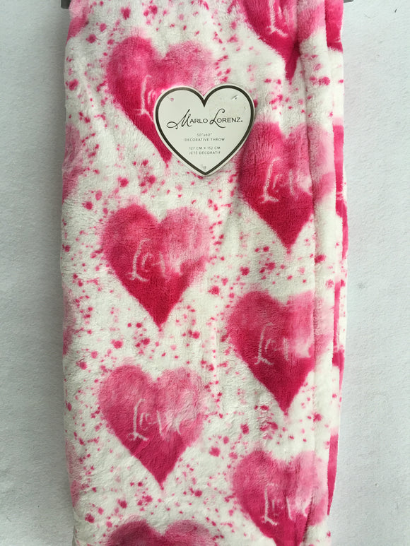 Valentine Pink Hearts With Love Plush Blanket Throw
