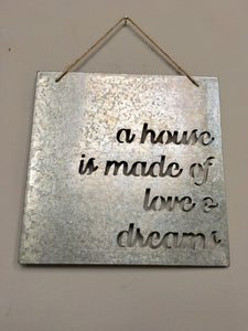 Valentine A House Is Made Of Love And Dreams Wall Hanging