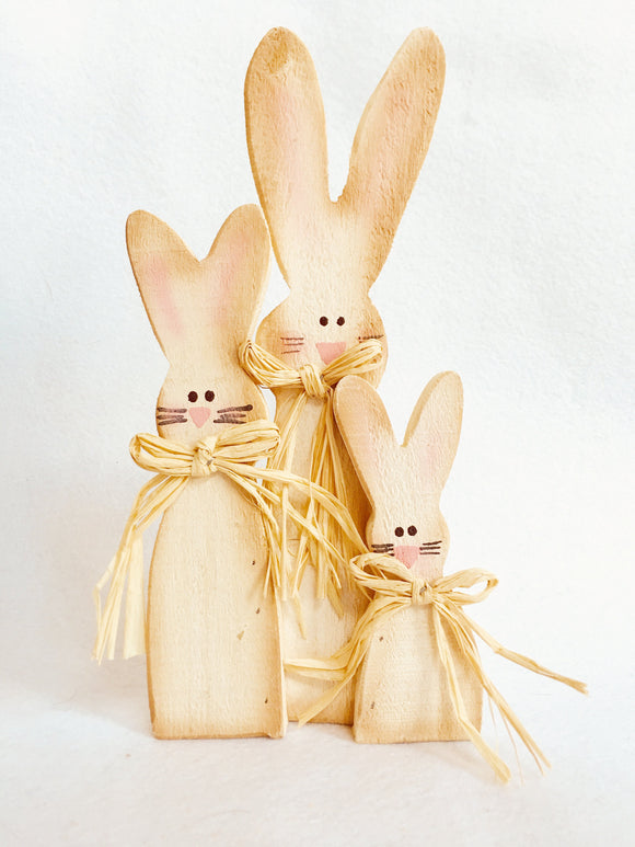 Easter 3 Bunnies Standing Wood Block Sitter