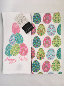 Easter Eggs Happy Easter 100% Cotton Kitchen Towels