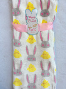 Easter Bunny and Chicks Blanket Throw