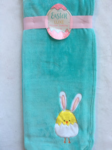 Easter Chick Wearing Bunny Ears Blanket Throw