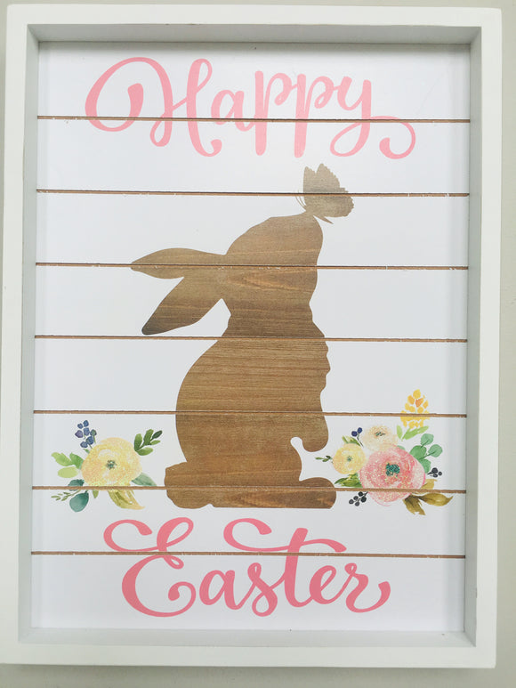 Easter Bunny with Happy Easter Wood Wall Hanging