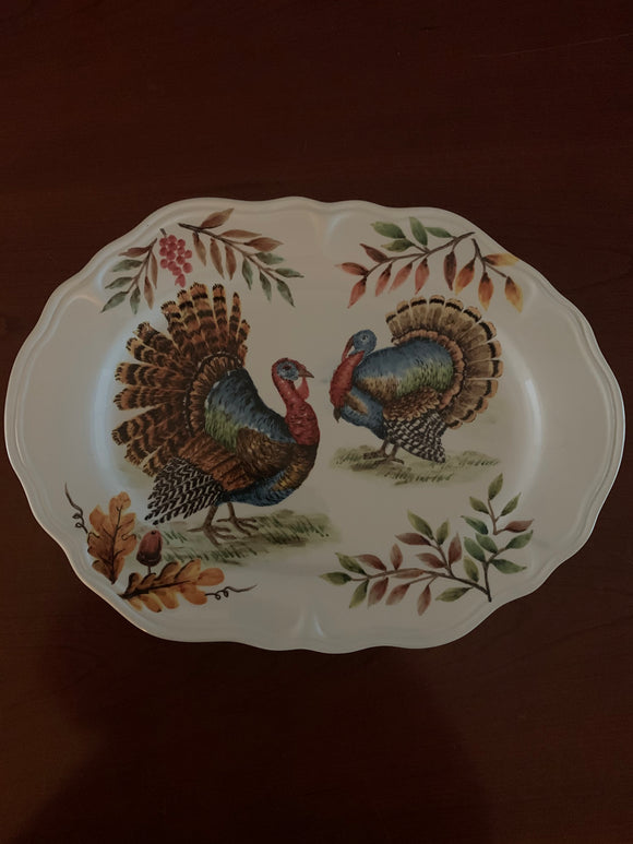 Clearance Two Turkeys Oval Ceramic Plate