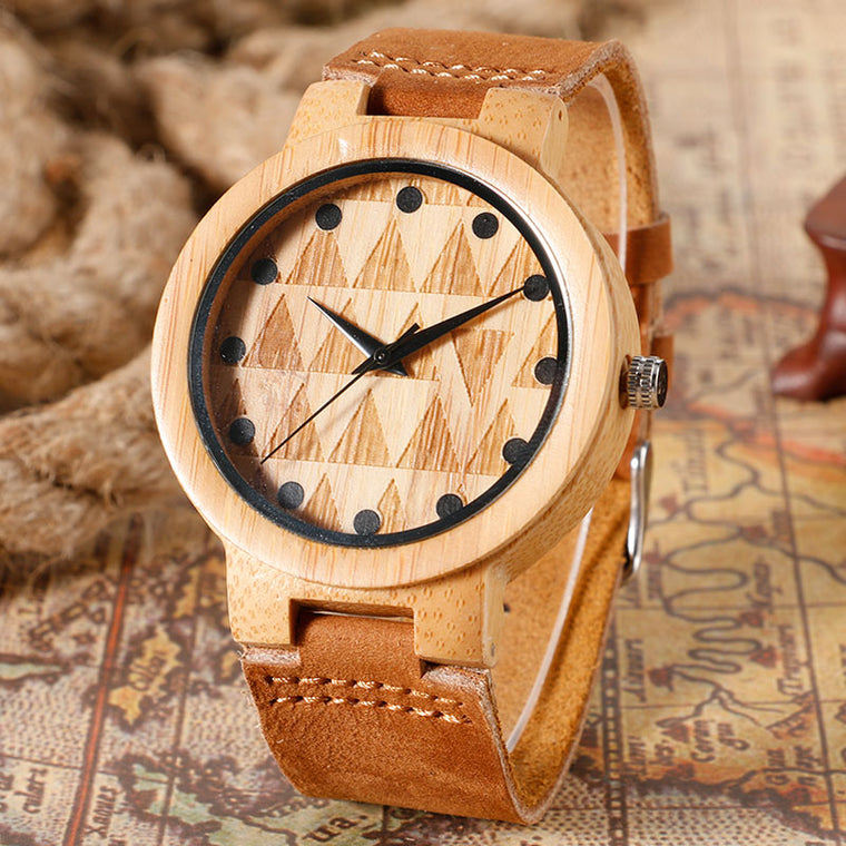 Genuine Leather and Bamboo Fashion Watch