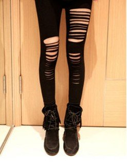 Black Destroyed Punk Leggings