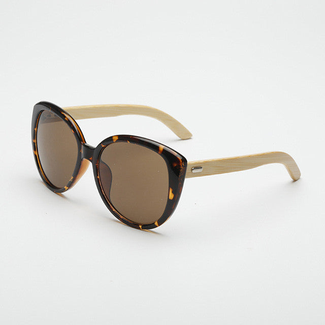 Bamboo-Look Mirrored Cat Eye Sunglasses