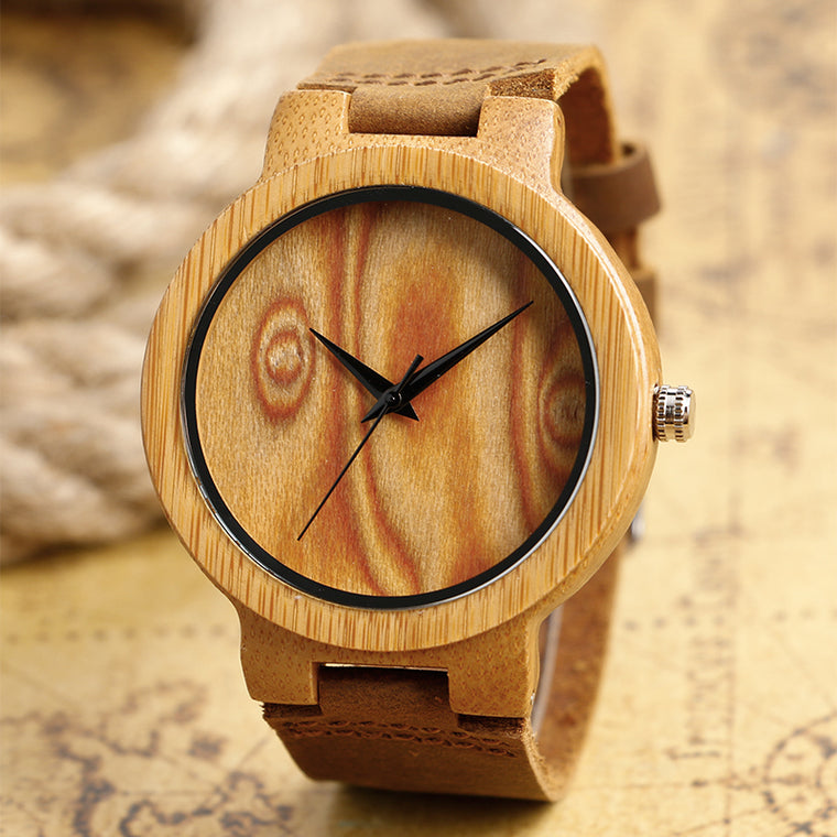 Hand-made Bamboo Watch with Genuine Leather Band
