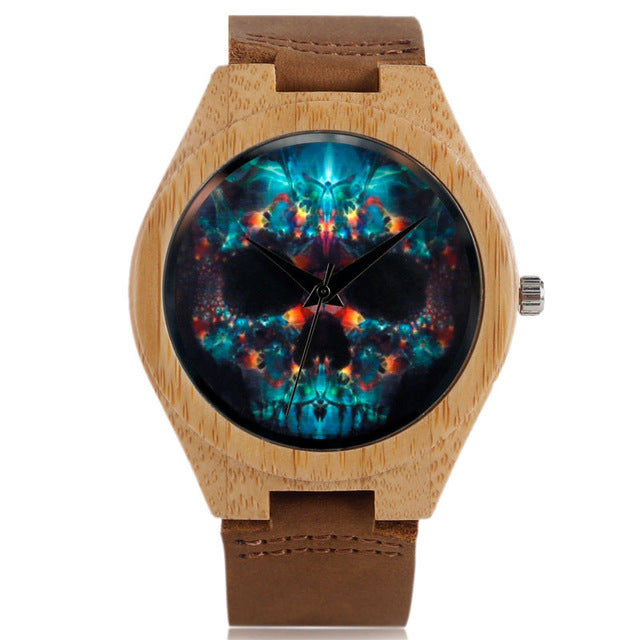 Handmade Skull Face Bamboo Watch w/Genuine Leather Strap