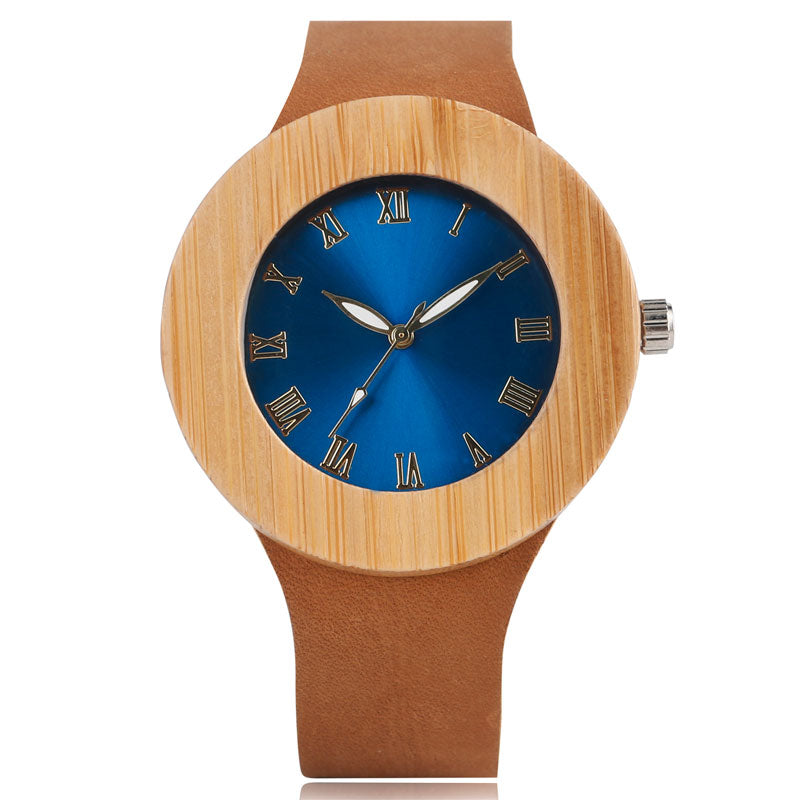 Lady's Handmade Blue Face Bamboo Watch w/Leather Strap