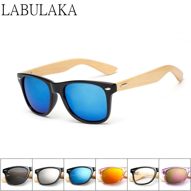 Bamboo Look Mirror Sunglasses