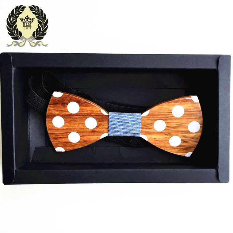 Hand Made White Polka Dot Wooden Bow Tie