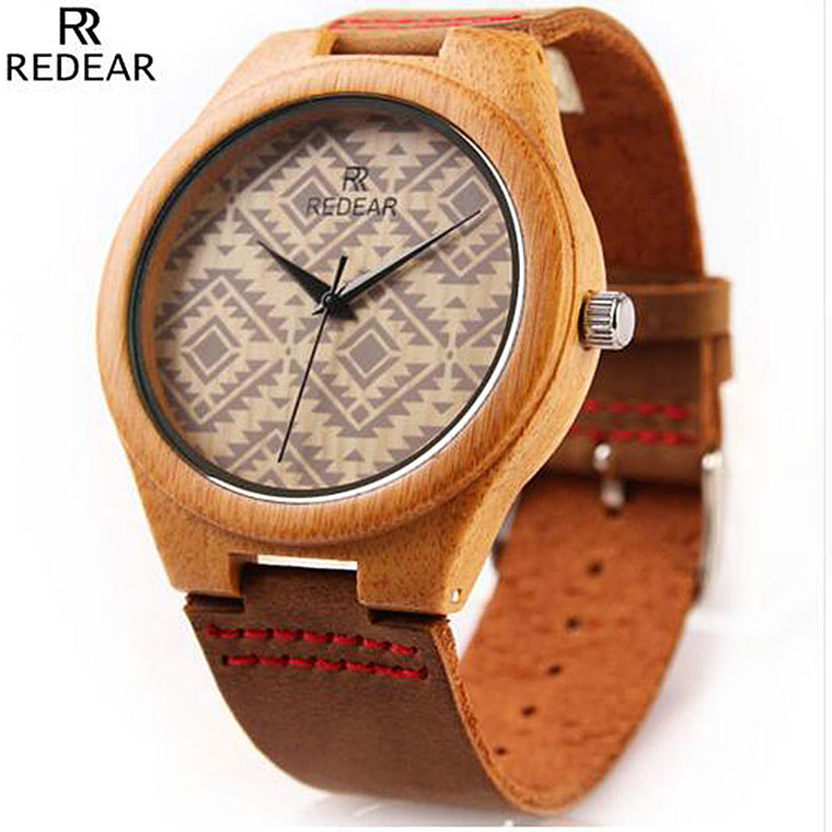 Fashion Bamboo Watch w/Leather Band