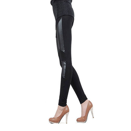 Sexy Faux Leather and Cotton Leggings