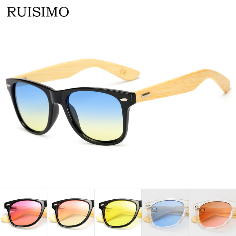Square Bamboo-Look Sunglasses