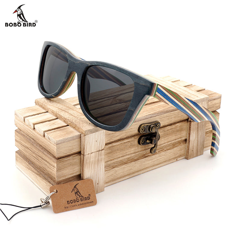 Striped Wooden Sunglasses in Gift Box