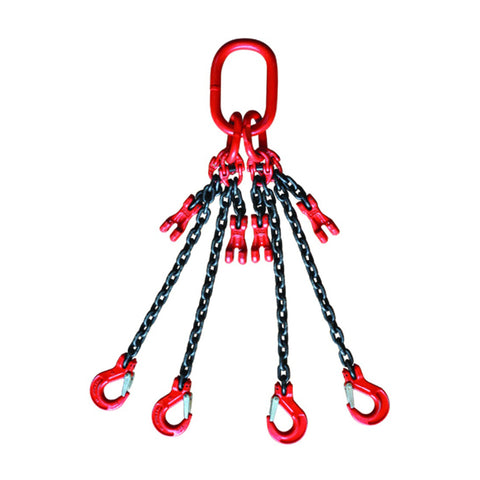 4 Leg 4mt Chains Grade 8, C/W Safety Hooks & Grab Hooks