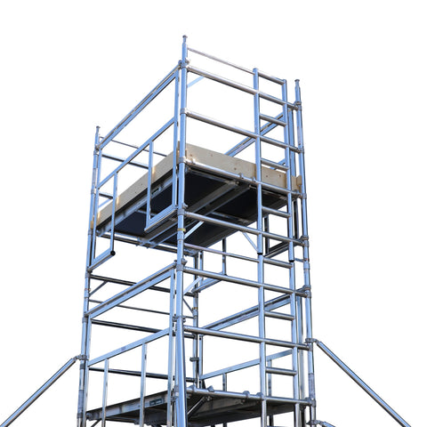 INDOOR USE ONLY - 2.5m Long Platform Advanced Guardrail Tower - Double Width