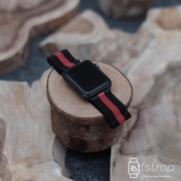 Apple Watch Strap - Black Red Strip Milanese (38 mm / 40 mm II 42 mm / 44 mm) - Fstrap.id