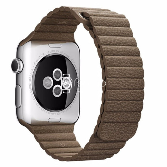 Apple Watch Strap - Brown Magnetic Leather Loop (38 mm / 40 mm || 42 mm / 44 mm) - Fstrap.id