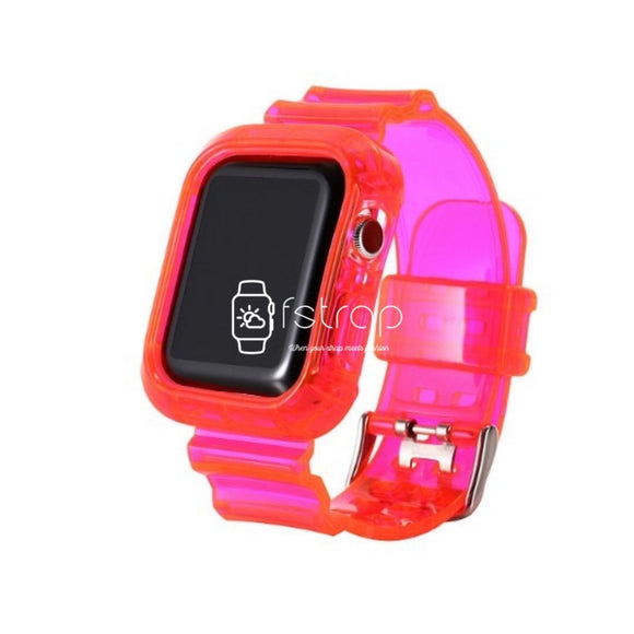 Apple Watch Strap Case - Pink Transparent (38 mm / 40 mm || 42 mm / 44 mm) - Fstrap.id