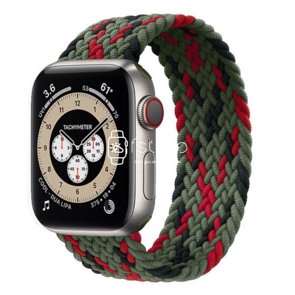 Apple Watch Strap - Green Black Red Braided Loop (38 mm / 40 mm || 42 mm / 44 mm) - Fstrap.id