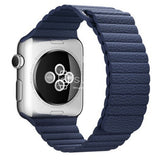 Apple Watch Strap - Navy Magnetic Leather Loop (38 mm / 40 mm || 42 mm / 44 mm) - Fstrap.id