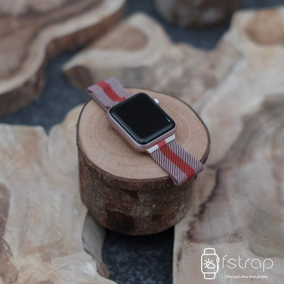 Apple Watch Strap - Rose Red Strip Milanese (38 mm / 40 mm II 42 mm / 44 mm) - Fstrap.id