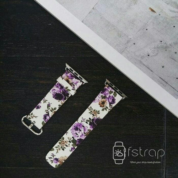 Apple Watch Strap - White With Purple Rose (38 mm / 40 mm II 42 mm / 44 mm) - Fstrap.id