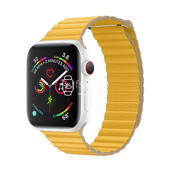 Apple Watch Strap - Yellow Magnetic Leather Loop (38 mm / 40 mm || 42 mm / 44 mm) - Fstrap.id